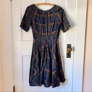 Boden Plaid Painted Amy Fit & Flare Dress